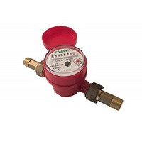 "[해외] DAE AS130U-50R 1/2"" Hot Water Meter, Measuring in Gallon + Couplings"
