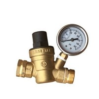 [해외] Water Pressure Regulator. Brass Lead-free Adjustable Water Pressure Reducer for Rv with Guage. Includes Inlet Screened Filter. Model A01-1117tm