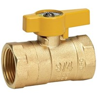 [해외] Homewerks VGV-2LH-B4CB Gas Ball Valve, Female Thread x Female Thread, Brass, 3/4-Inch
