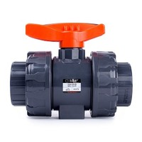 [해외] HYDROSEAL Kaplan PVC 1 1/2 True Union Ball Valve with Full Port, ASTM F1970, EPDM O-Rings and Reversible PTFE Seats, Rated at 200 PSI @73F, Gray, 1 1/2 inch Socket (1 1/2)