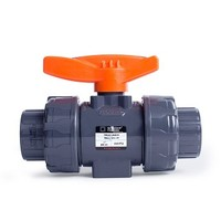 [해외] HYDROSEAL Kaplan 1'' PVC True Union Ball Valve with Full Port, ASTM F1970, EPDM O-Rings and Reversible PTFE Seats, Rated at 200 PSI @73F, Gray, 1 inch Socket (1 inch)