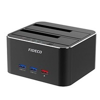 [해외] Hard Drive Docking Station, FIDECO USB 3.0 to SATA HDD Docking Station Dual-Bay External Hard Drive Dock with Offline Clone Function for 2.5/3.5 SATA HDD SSD Drives, Support 2X 10T