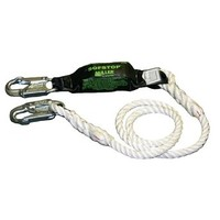 [해외] Miller by Honeywell 903RLS-8/12FTWH 1/2-Inch, 12-Feet Nylon Adjustable Rope Lanyard with Sofstop Shock Absorber and Two Locking Snap Hooks, White